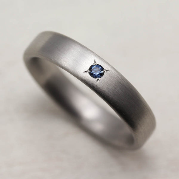 Palladium Edgeless Band with Australian Sapphire, Engagement Ring - Aide-mémoire Jewelry