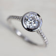 Open Bezel Pave Solitaire Engagement Ring - Aide-memoire Jewelry