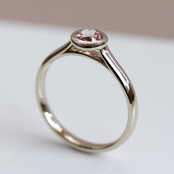 Rose Cut Peach Sapphire in Open Bezel Solitaire