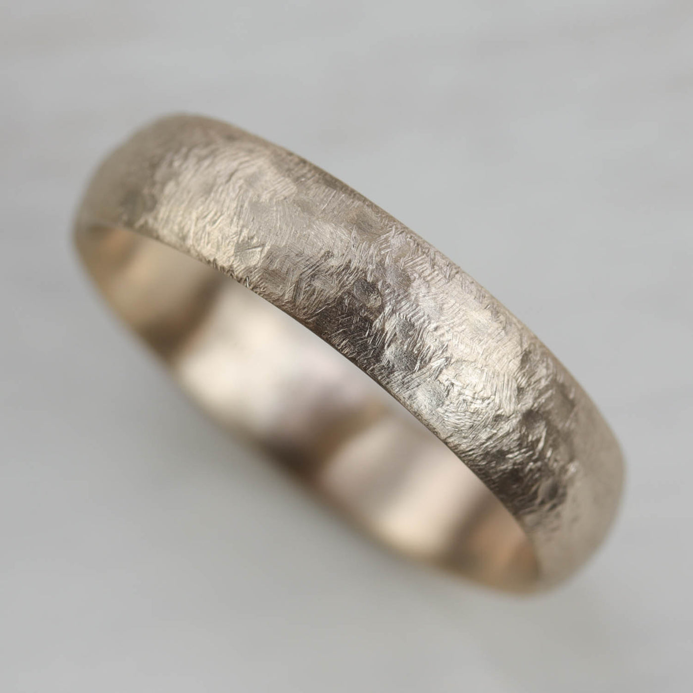 Wide Rugged Texture Hand-carved Classic Band