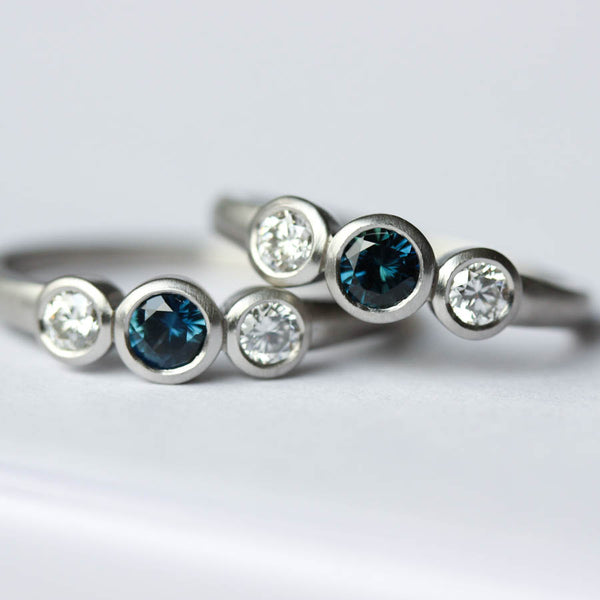 Sapphire & Diamond Three Stone Ring Set, Engagement Ring - Aide-mémoire Jewelry