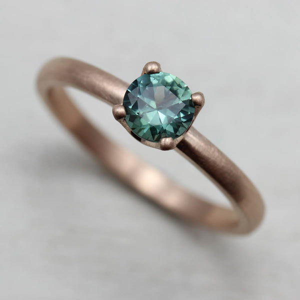 Blue Green Montana Sapphire and Rose Gold Crown Solitaire Engagement Ring — Aide-mémoire Jewelry