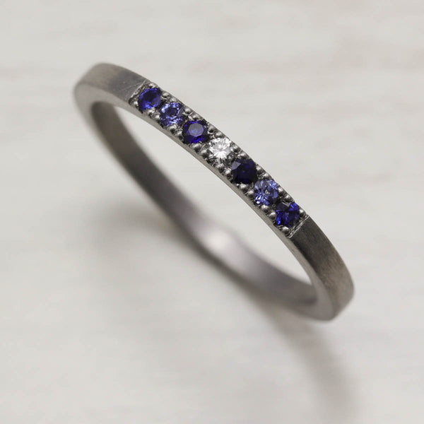 Blue Sapphire Stacking Ring, Engagement Ring - Aide-mémoire Jewelry