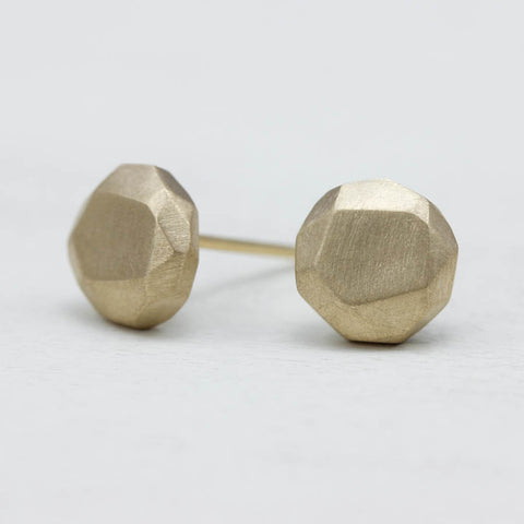Round Faceted Stud Earrings