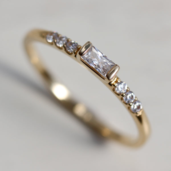 Dainty & Petite Baguette Stacking Ring - Ethical, Eco-friendly Jewelry