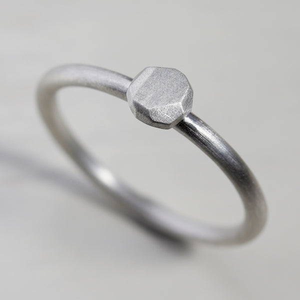 Faceted Silver Placeholder Proposal Ring