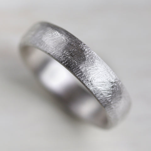 Silver Hand-Hewn Engagement Band