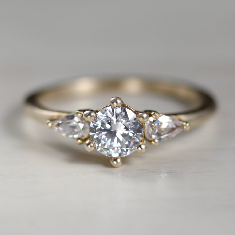 Prong-set Three Stone Ring with Pear-Shaped Side Stones, Engagement Ring - Aide-mémoire Jewelry