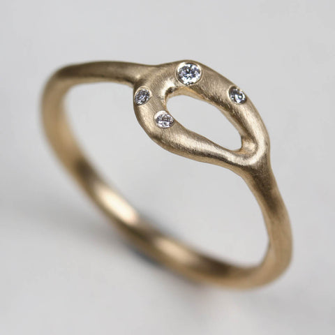 Sculpted Diamond Torus Ring