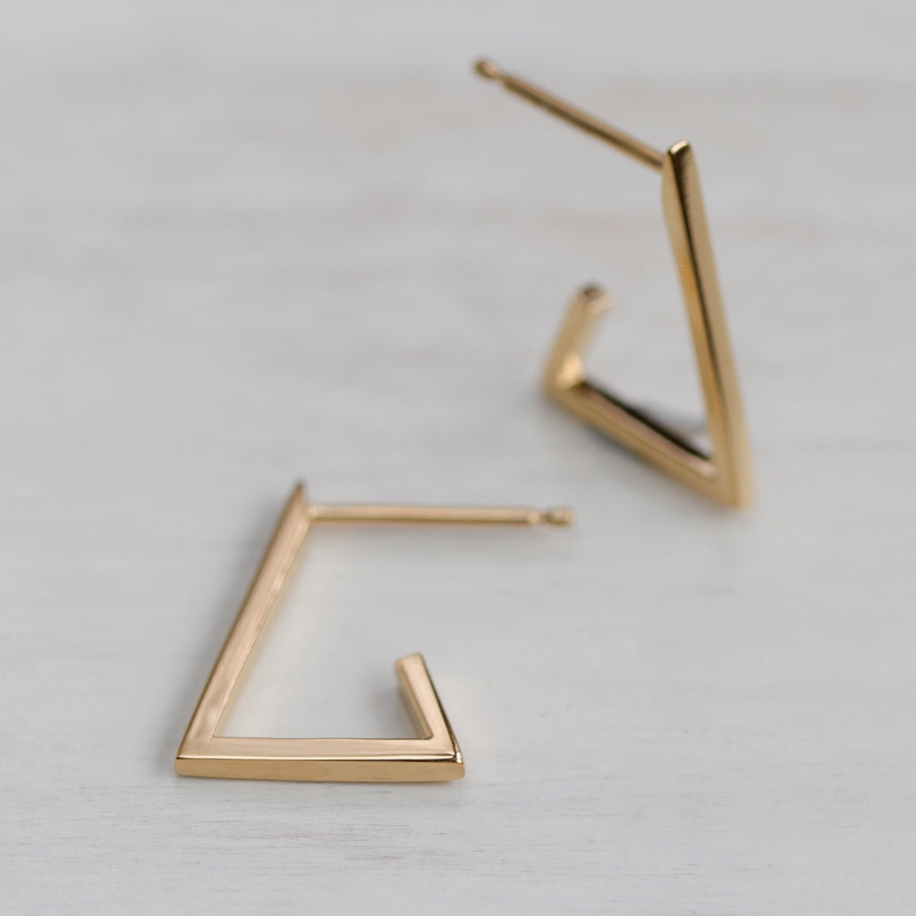 Triangle Hoop Earrings - Eco-friendly, Ethical, Simple Jewelry