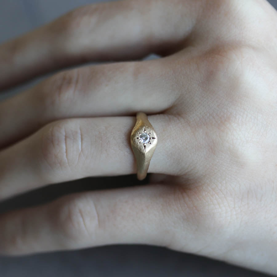 Signet Engagement Ring, Engagement Ring - Aide-mémoire Jewelry