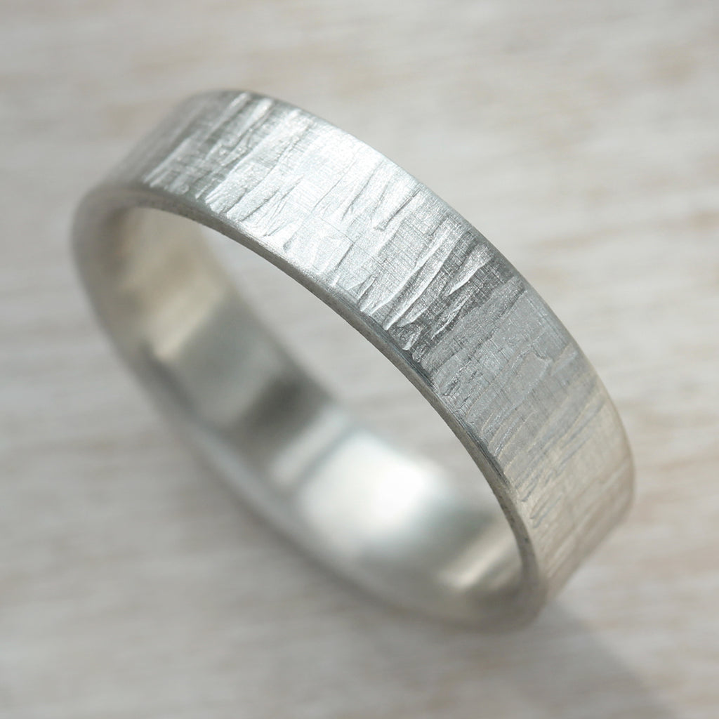 Silver Wood Texture Engagement Ring