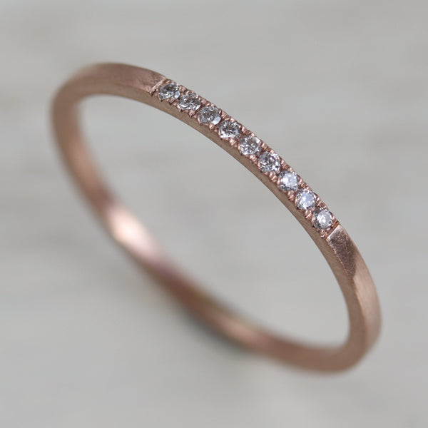 Nine Stone Diamond Stacking Ring •