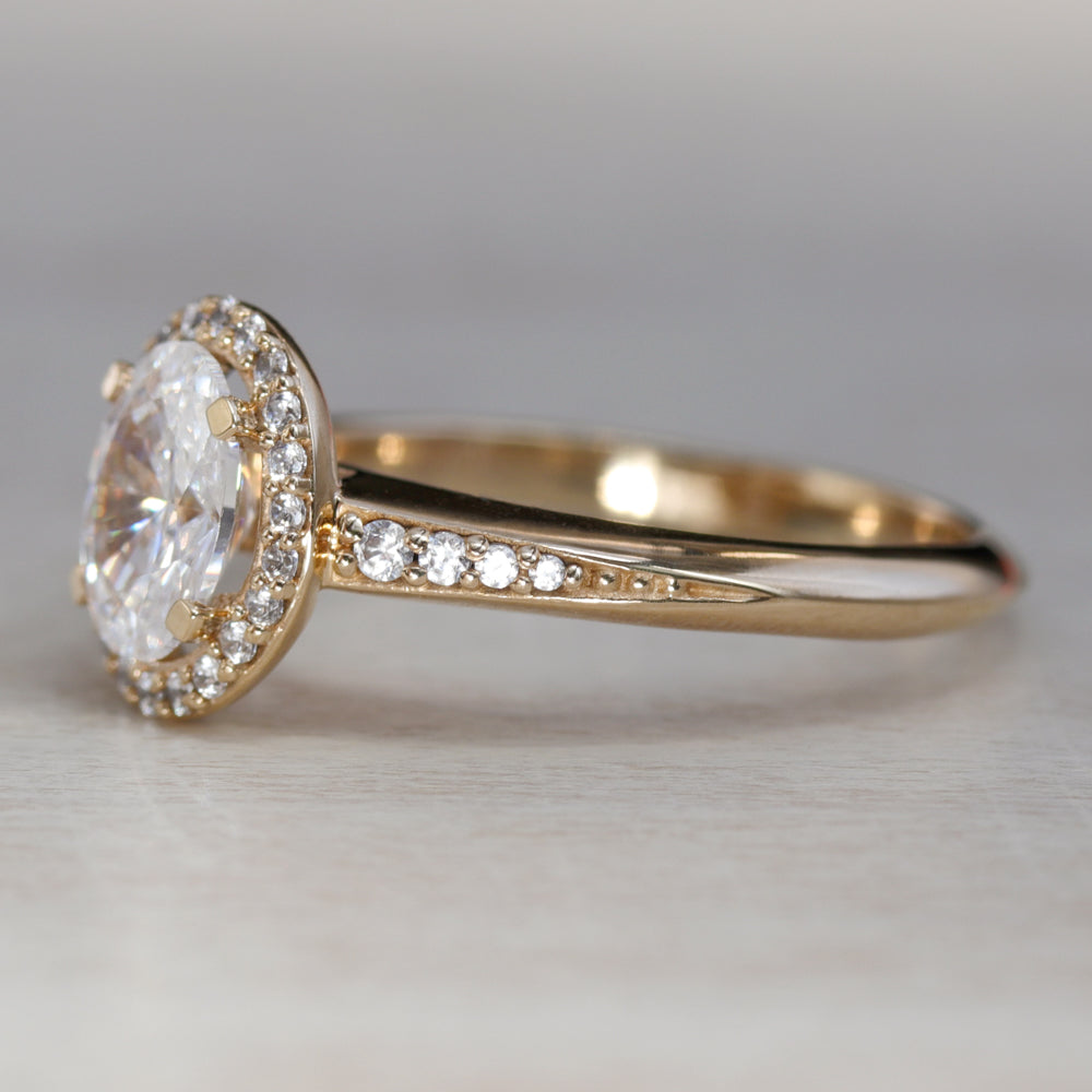 Unique Oval Halo Solitaire Engagement Ring with Knife-Edge Band