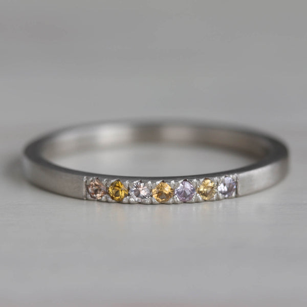 Seven Stone Square Stacking Ring with Montana Sapphires