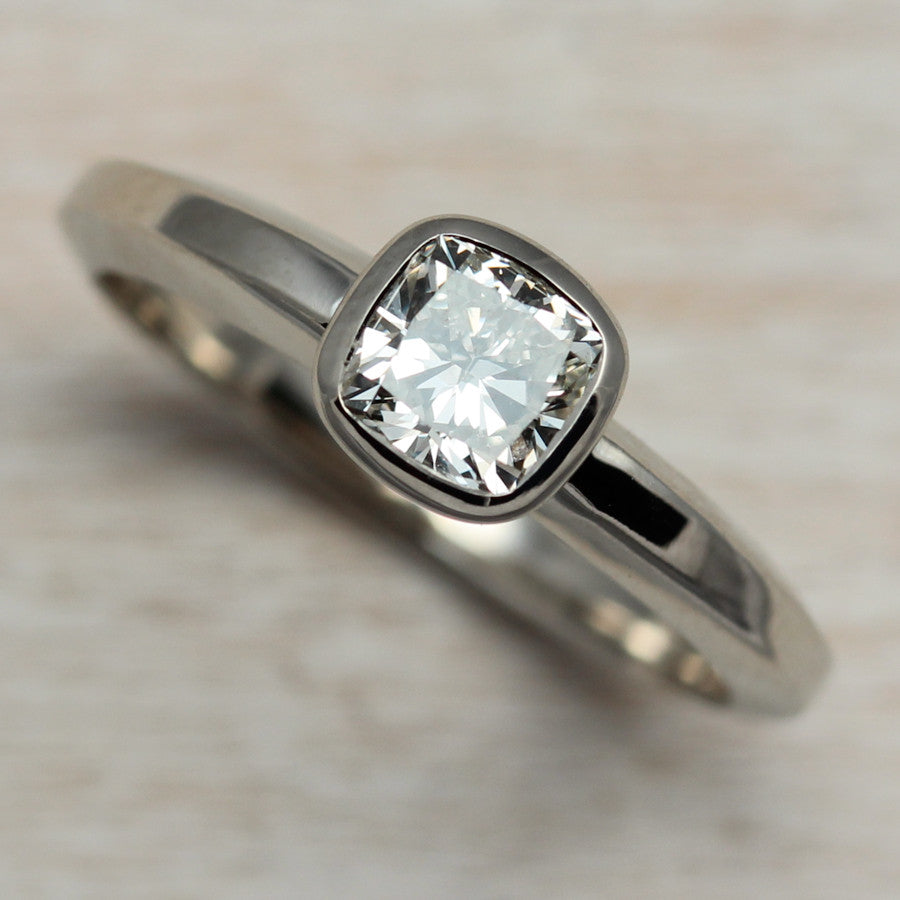 Cushion Cut Engagement Ring, Engagement Ring - Aide-mémoire Jewelry