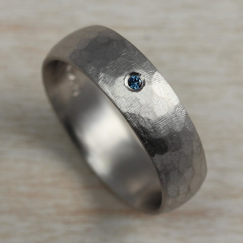 Stone Texture Hand-carved Classic Band with Australian Sapphire