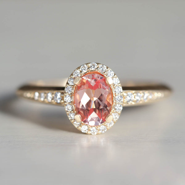 Oval Halo Solitaire with Peach Champagne Sapphire and Diamonds
