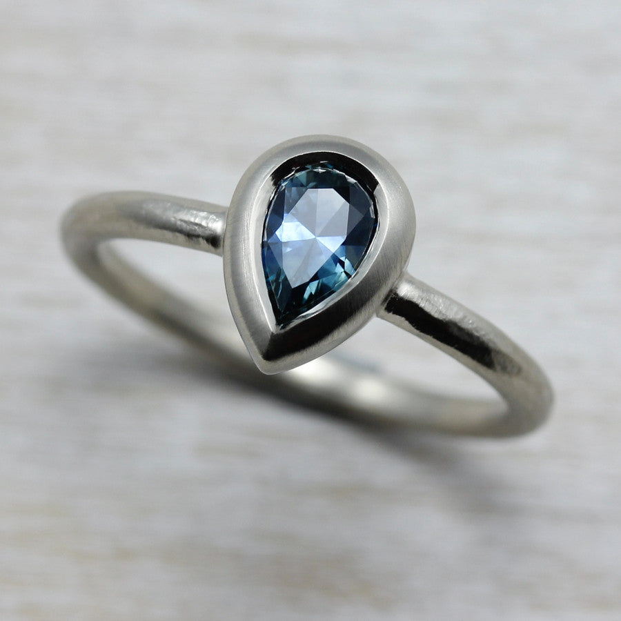 10k White Gold Pear Solitaire with Montana Sapphire, Engagement Ring - Aide-mémoire Jewelry