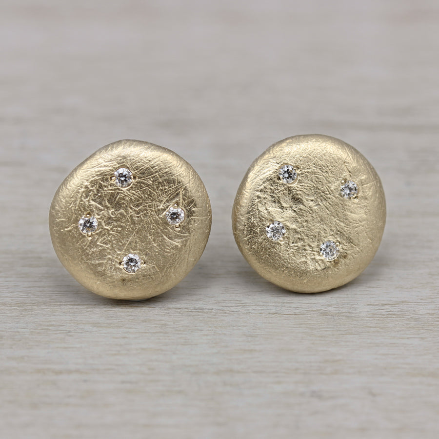 Scatter Diamond Ancient Post Earrings, Earrings - Aide-mémoire Jewelry