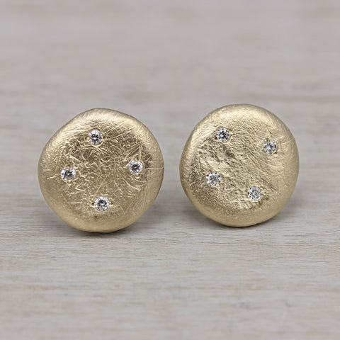 Scatter Diamond Ancient Post Earrings