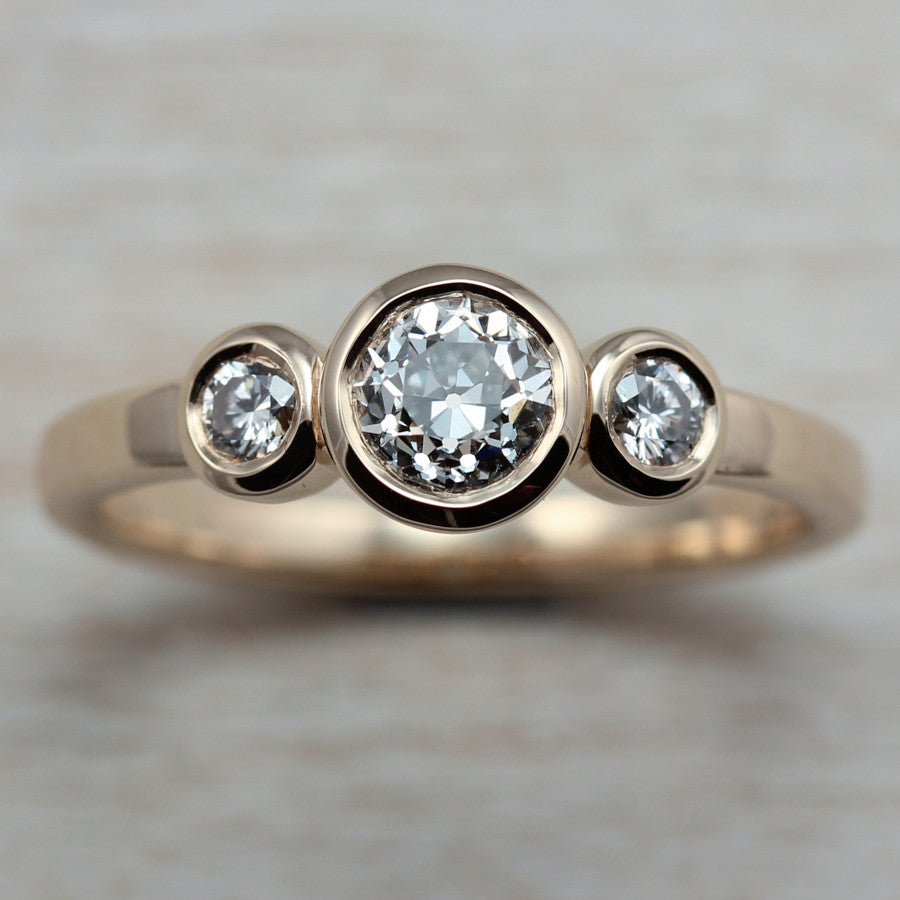 Diamonds and 14k Yellow Gold Three Stone Ring, Engagement Ring - Aide-mémoire Jewelry