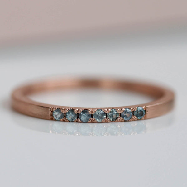 Seven Stone Bead-Set Square Band with Teal Sapphires