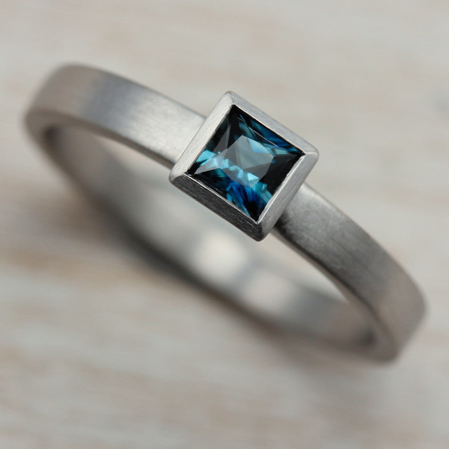 Square Solitaire Engagement Ring with Denim Blue Australian Sapphire, Engagement Ring - Aide-mémoire Jewelry