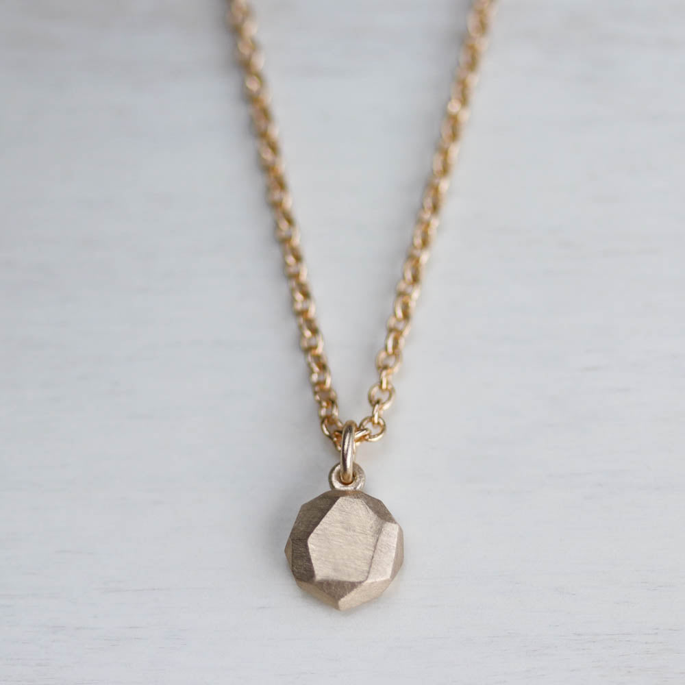 Tiny Round Faceted Pendant, Necklace - Aide-mémoire Jewelry