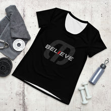 Load image into Gallery viewer, Believe and Achieve All-Over Print Women's Athletic T-shirt