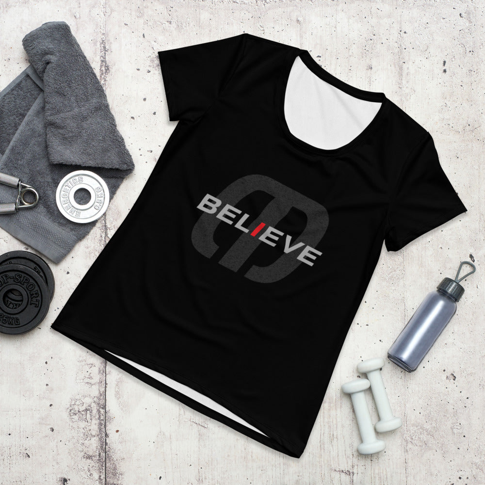 Believe and Achieve All-Over Print Women's Athletic T-shirt