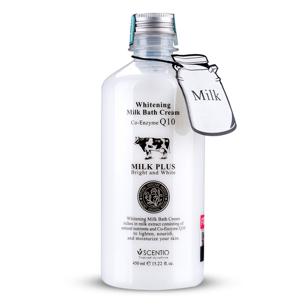 Scentio Milk Plus Whitening Q10 Bath Cream + Body Lotion, 850 ml