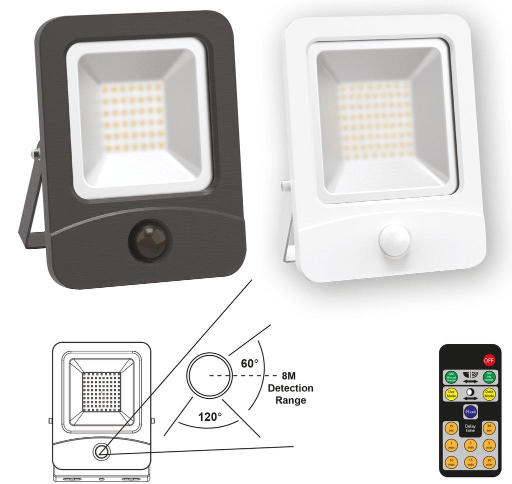 Remote Control PIR LED 30W Floodlight IP65