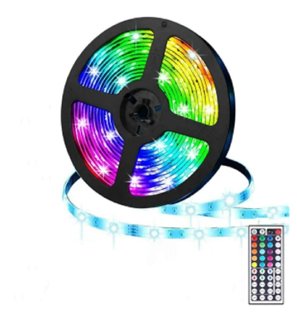 LED Coloured Strip Light With Remote Control 5M 24W For Indoor & Outdoor Use