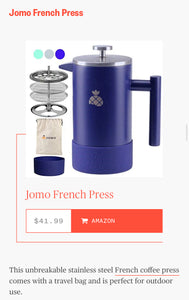 JOMO french press mentioned on Today at today.com for best outdoor appliance coffee maker.