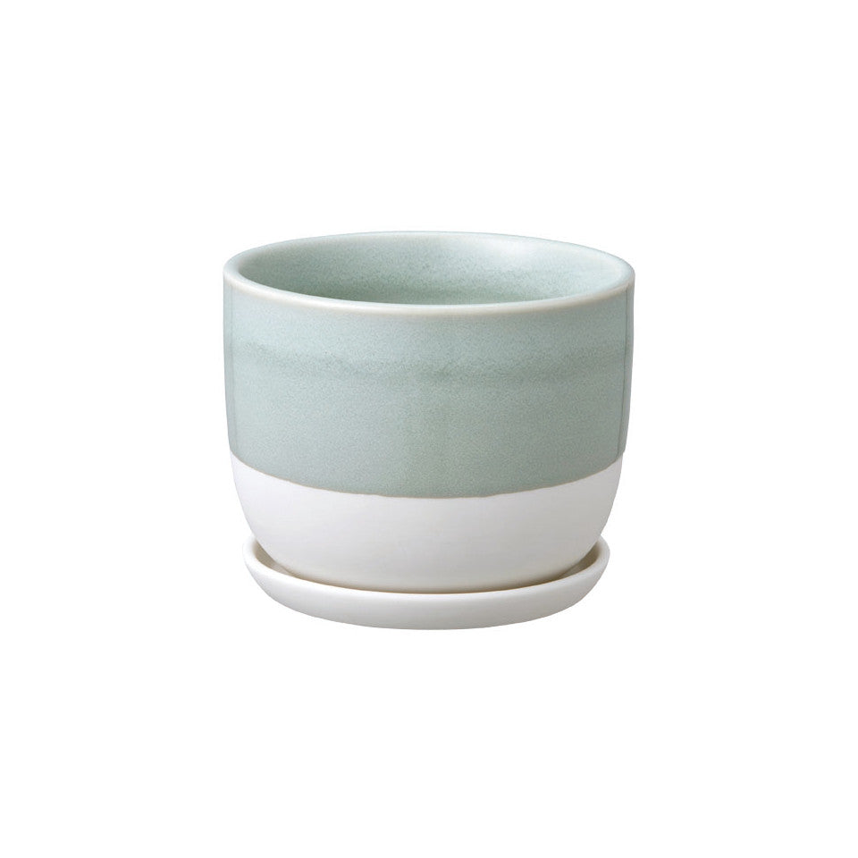 193 plant pot large, blue-grey glaze.