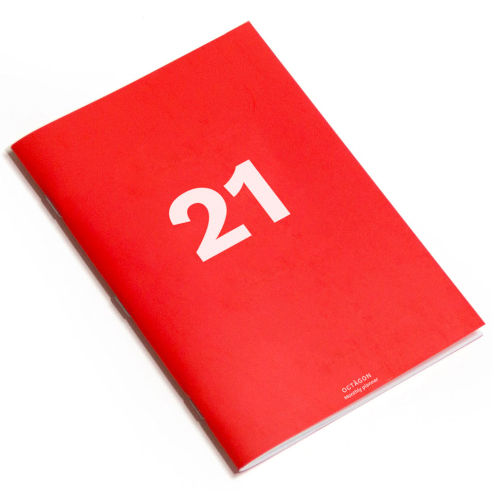 2021 A4 Monthly planner with red cover.