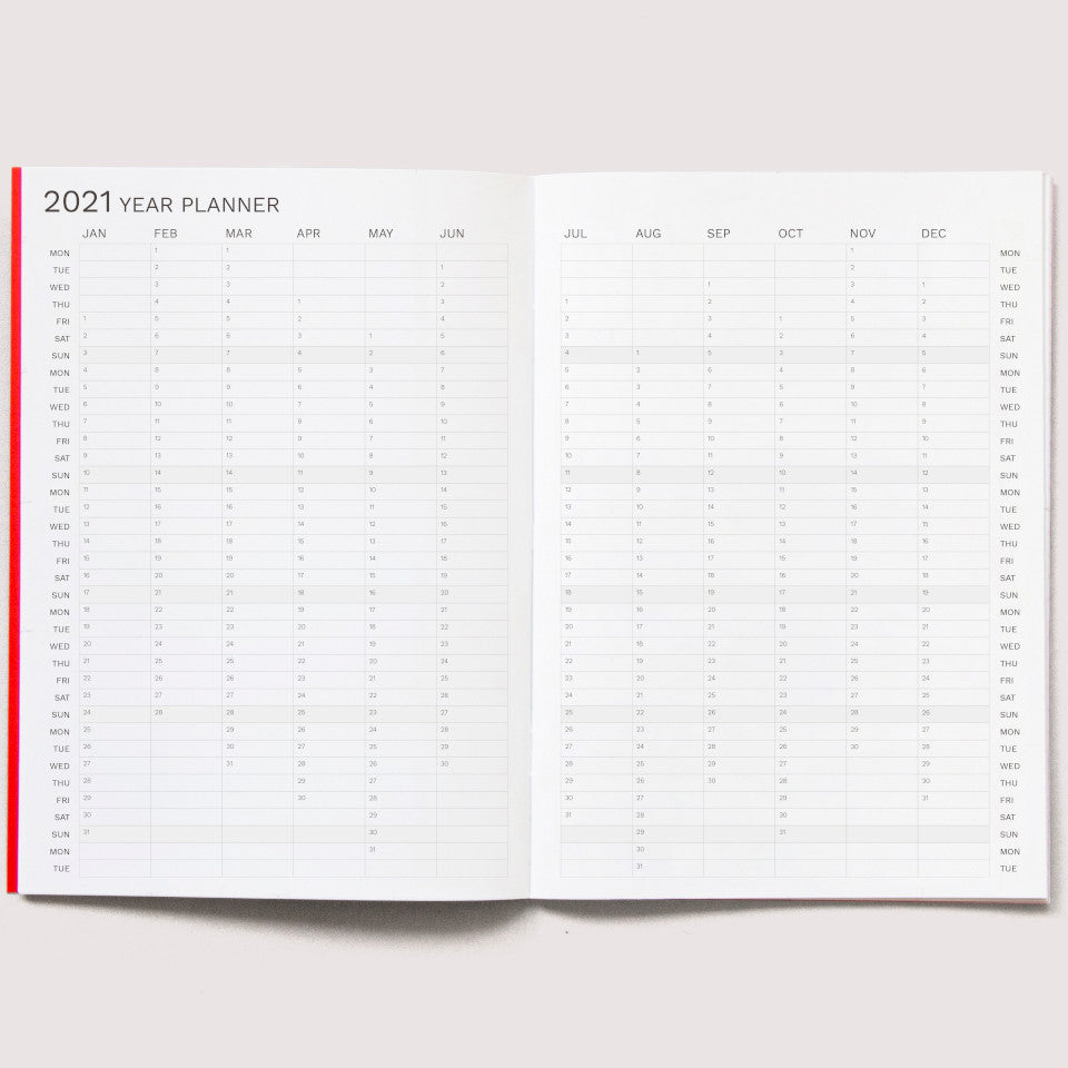 2021 A4 Monthly planner, full year pages.