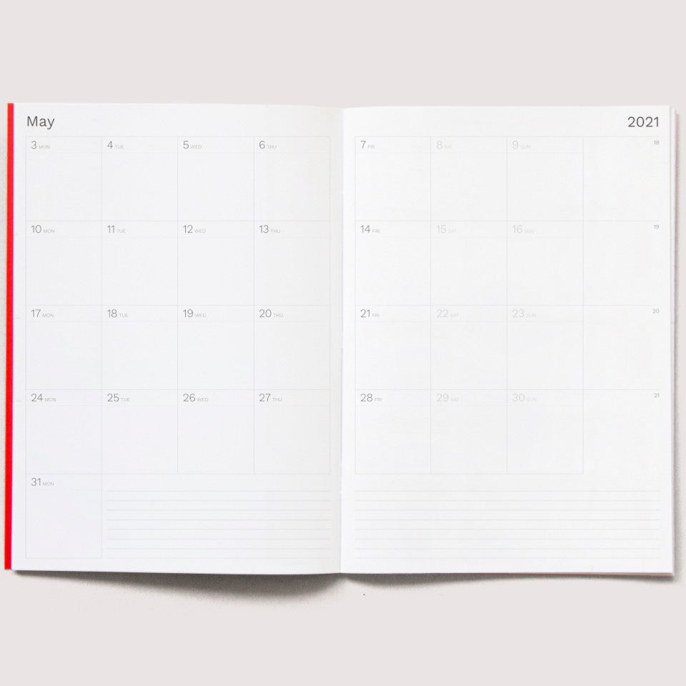2021 A4 Monthly planner, month pages (month of May).
