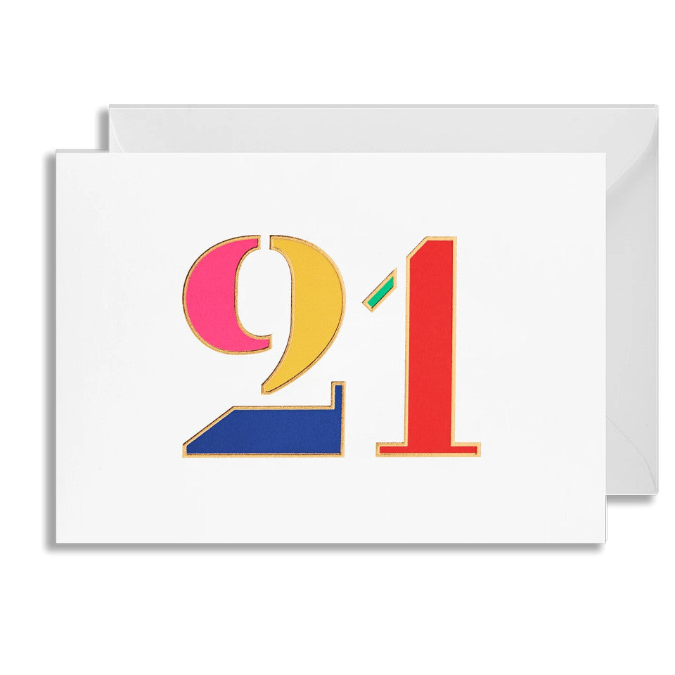 21 blank birthday card, brightly coloured numbers on a white background, with white envelope.