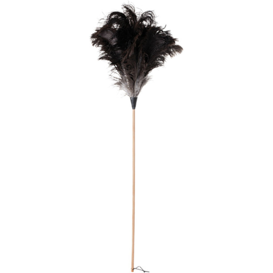 110 cm ostrich feather duster, untreated beechwood handle.