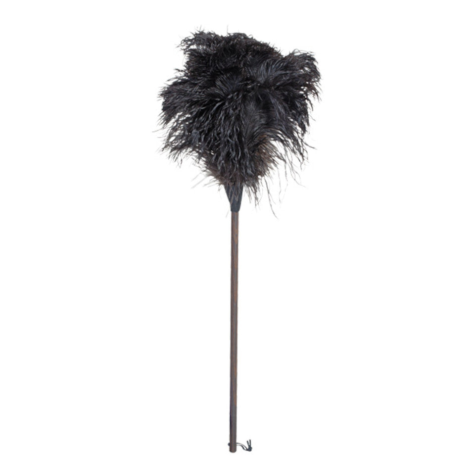 80 cm ostrich feather duster, oiled thermowood handle.