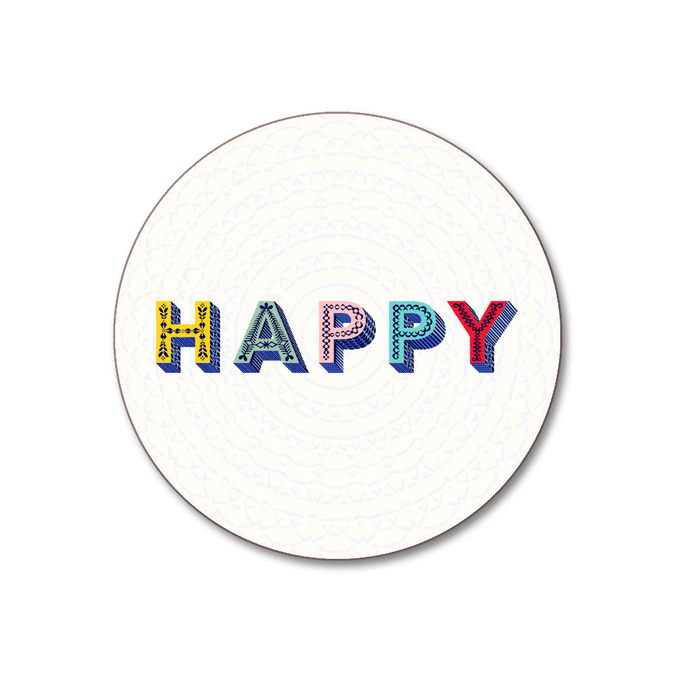 HAPPY on white background coaster.