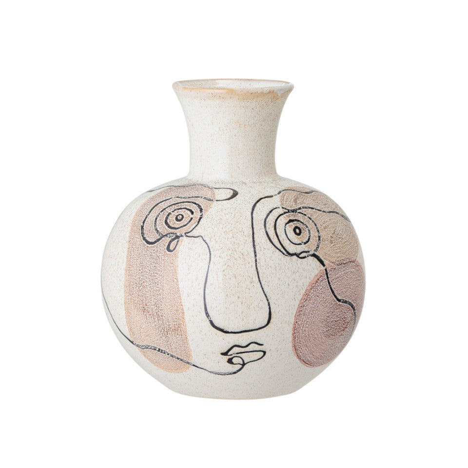 Abstract face stoneware vase with line drawn abstract face on a natural background with earth-toned brush strokes.