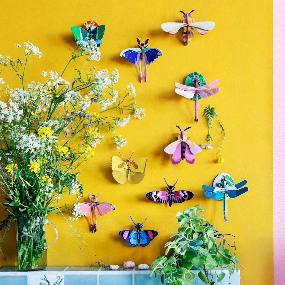 Swallowtail, Comet, Yellow, Longwing and Peacock butterflies, Pink and Blue dragonflies, and a bee styled on a yellow wall.