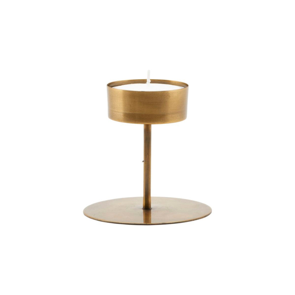 Anit medium brass candleholder, for large tealight.