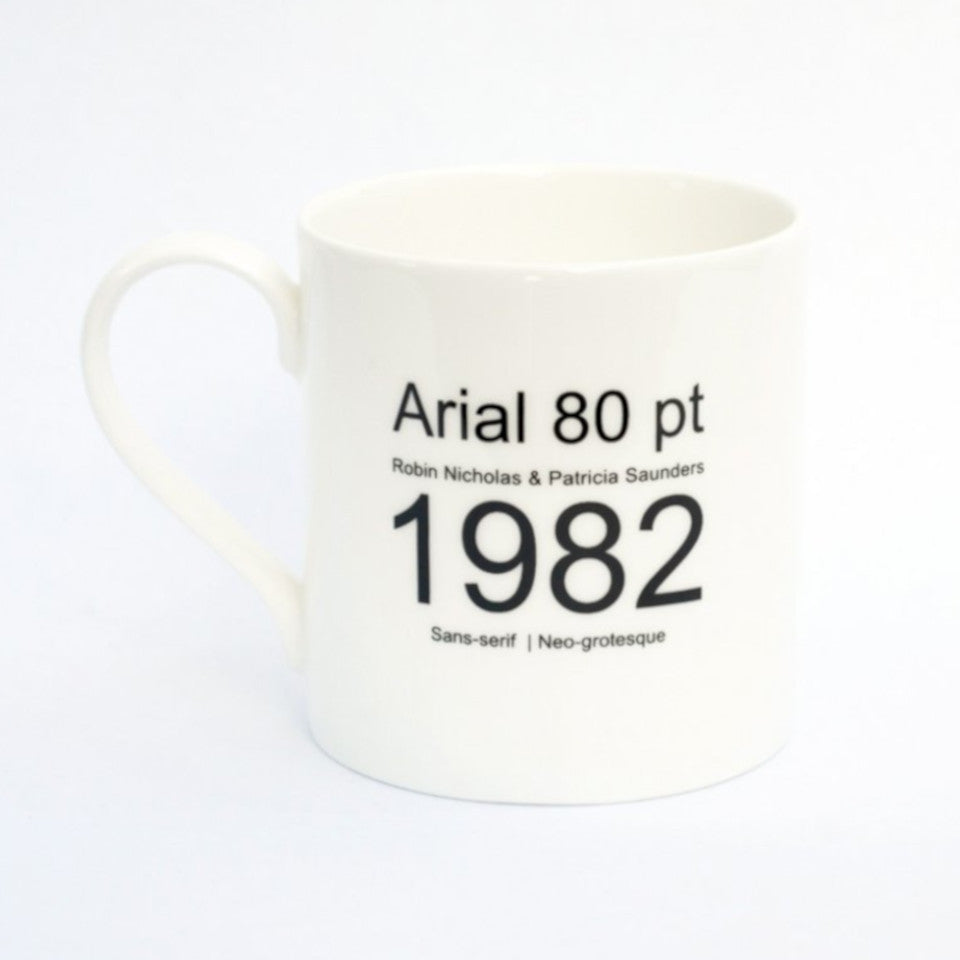 Arial typographic fine bone china mug, with type-face history, handle on left.