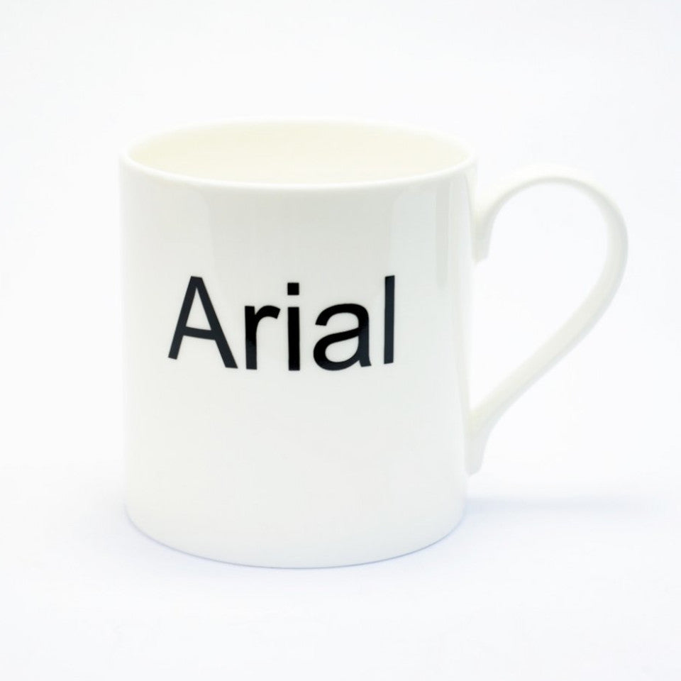 Arial typographic fine bone china mug, handle on right.