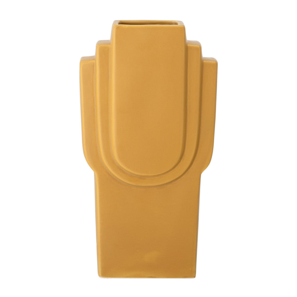 Ata vase, yellow stoneware, art-deco style rectangular shape.