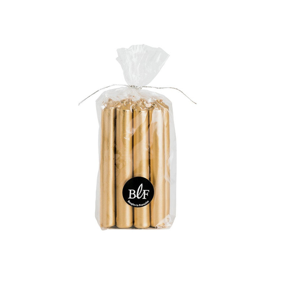 Bag of 13 gold mini candles.